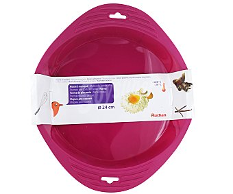 Auchan Molde redondo de borde alto fabricado en silicona color rosa, 24 centímetros de diámetro 1 Unidad