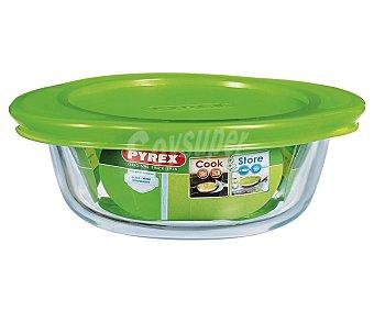 PYREX Fuente redonda de vidrio borosilicato con tapa de plástico, 26 centímetros, 2,3 litros. Apta para horno, microondas y congelador 1 Unidad