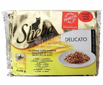 Sheba Comida para gatos adultos de ave (bocaditos de gelatina) 4 Unidades de 85 Gramos
