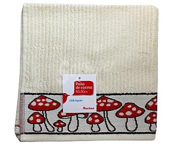 AUCHAN Paño de cocina de rizo, estampado color rojo, 50x50 centímetros 1 Unidad