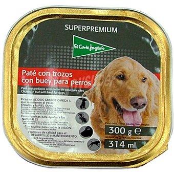 El Corte Inglés Paté con trozos con buey para perros Tarrina 300 g