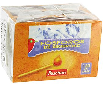 Auchan Fósforos de Seguridad Caja 3 Cajitas (120 Fosforos)