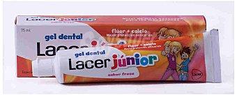 LACER Junior Gel dental con flúor y calcio , sabor a fresa 75 Mililitros