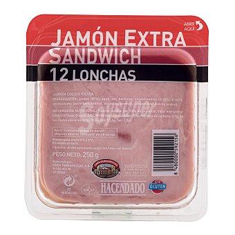 Hacendado Jamon cocido lonchas sandwich Paquete 250 g
