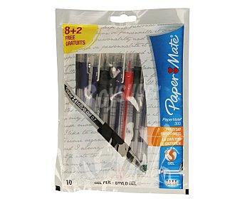 Paper Mate Lote de 10 bolígrafos retráctiles,grip suave, punta media con grosor de escritura de 0.7 milímetros y tinta gel azul, negra, roja y verde 1 unidad