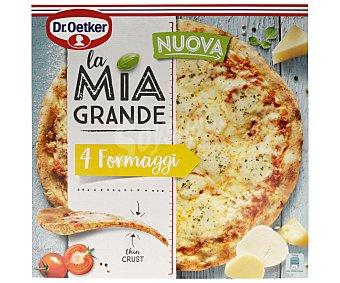 Dr. Oetker Pizza 4 quesos, de masa fina horneada directamente sobre piedra LA MIA gran 400 g