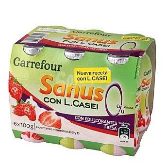 Carrefour Yogur líquido Sanus sabor fresa 0% + l.casei Pack 6x100 g