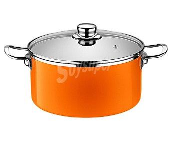 MONIX Olla o cacerola alta de 24 centímetros de diámetro color naranja mandarina, fabricada en acero esmaltado de 1,8 milímetros. Apta para inducción 1 unidad