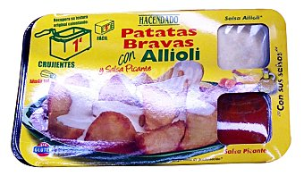 Hacendado Comida preparada patatas bravas (alioli + salsa picante) Tarrina de 490 g