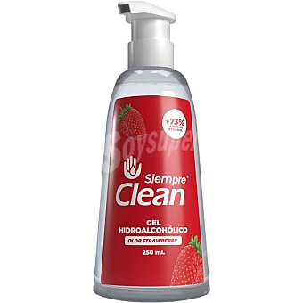 Siempre Gel hidroalcohólico higienizante 73% de alcohol olor a fresa clean Dosificador 250 ml