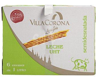 VILLACORONA Leche Semidesnatada Caja 6 Unidades