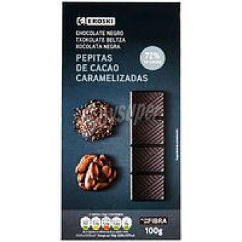 Eroski Chocolate 72% cacao-pepitas Tableta 100 g