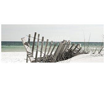 IMAGINE Lámina con la imagen de una valla de postes de madera, en una idílica playa y con el mar de fondo y dimensiones de 45x120 centímetros 1 unidad