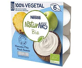 Naturnés Nestlé Postre lácteo vegetal con manzana, piña y agua de coco BIO 4 x 90 g