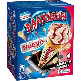 Maxibon Nestlé Conos con helado de queso y frutos rojos Cheese & Berry 4 unidades ( 480 ml )