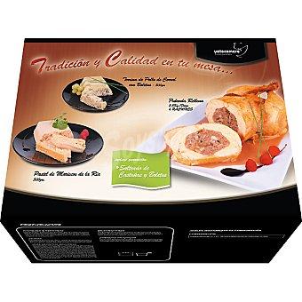 YATECOMERE Menú completo pularda rellena tarrina de pollo con boletus y pastel de marisco de la Ría Caja 3300 g