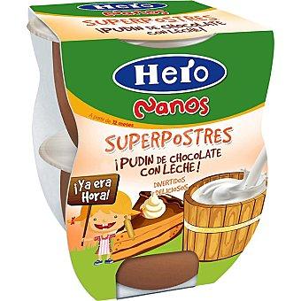 HERO NANOS Superpostres Pudin de chocolate con leche pack 2x130g estuche 260 g Pack 2x130g