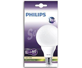 Philips Bombilla led globo 9.5W, con casquillo E27 (gruesa) y luz cálida philips.
