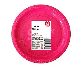 Actuel Platos llanos desechables color fucsia, 22 centímetros de diámetro 20 unidades