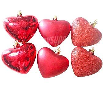 Actuel Lote de 6 corazones para colgarlos en el abeto navideño con acabados en brillo o mate ACTUEL.