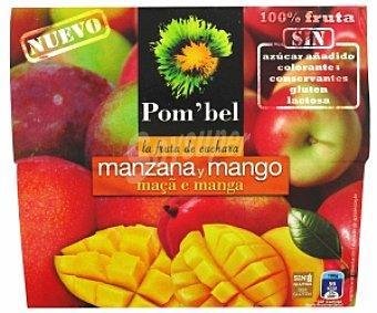 POM'BEL Puré de manzana-mango, Sin: azúcar añadido, colorantes, conservantes, gluten ni lactosa Pack 4 Unidades de 100 Gramos
