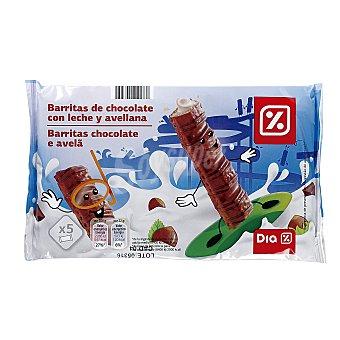 DIA Barritas de chocolate con leche y avellanas Paquete 110 gr