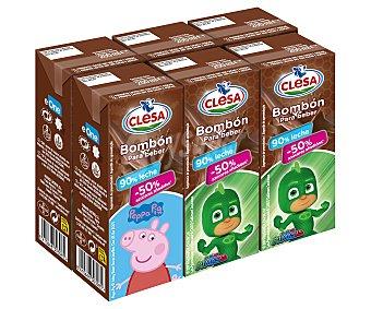 Clesa Batido de chocolate bombón, elaborado con un 90% de leche y un 50% menos de azúcares 6 x 200 ml