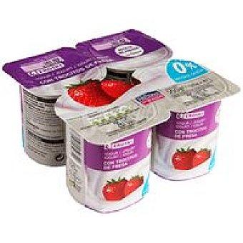 Eroski Yogur desnatado con fresas Pack 4x125 g