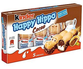 Kinder Happy Hippo (galleta de barquillo con cacao y relleno cremoso de leche y cacao) 5 unidades 103,5 gramos
