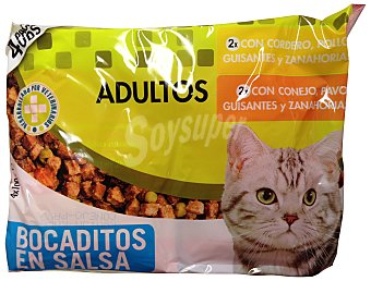 Lucy Comida gato adultos pate (cordero, pollo, guisantes, zanahorias) + (conejo, pavo, guisantes, zanahorias) Sobre pack 4 x 100 g - 400 g
