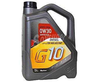 Auchan Aceite sintético para vehículos diésel G10, Inyección Directa, tdi, hdi, dci, FAP 5 Litros