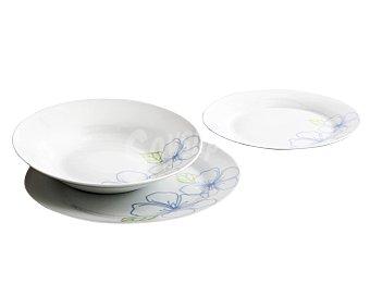 LUMINARC Vajilla completa 6 servicios, fabricada en porcelana, color blanco con decoraciones flor 1 unidad