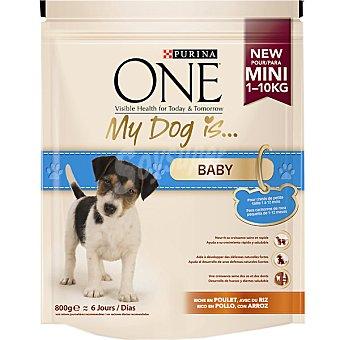 Rico Alimento para cachorros de raza pequeña en pollo y arroz Paquete 800 g