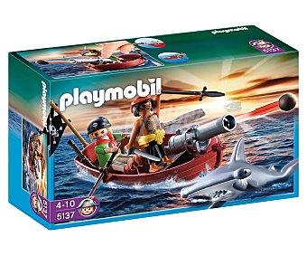 PLAYMOBIL Playset de juego Piratas, Bote pirata con tiburón, modelo 5137 1 unidad