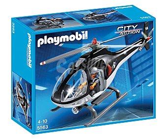 PLAYMOBIL Helicóptero de la unidad especial de policía, incluye helicóptero y 1 figura, City Action, modelo 5563 1 unidad
