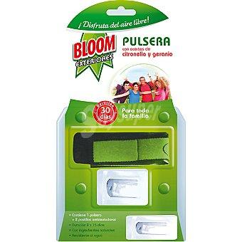 Bloom Pulsera antimosquitos con aceites de citronella y geranio + 2 recambios resistente al agua Exteriores envase 1 unidad