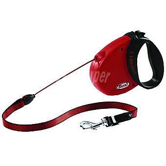 BIOZOO AXIS FLEXI CONFORT COMPACT correa extensible color rojo-negro cordón de 5 metros para perros de peso aproximado  25 kg 1 unidad