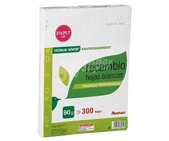Auchan Recambio tamaño folio, con cuadricula de 5x5 milímetros, multitaladro, 300 hojas de 90 gramos 1 unidad