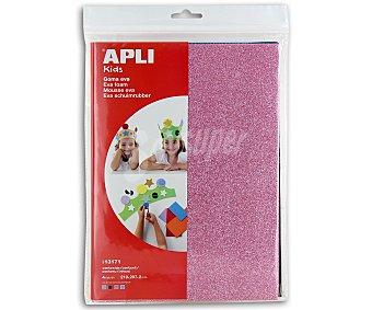 APLI Bolsa de 4 planchas de foam, de diferentes colores con brillantina y dimensiones de 210x297x2 milímetros 1 unidad