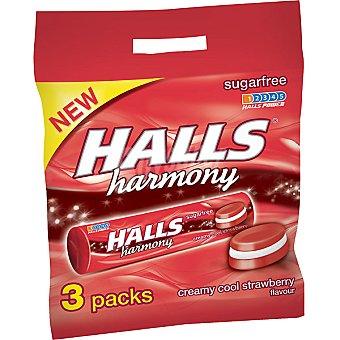 Halls Caramelos duros sabor crema-fresa sin azúcar Harmony Pack 3 envase 24 g