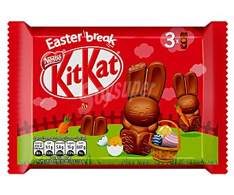 Kit Kat Nestlé Chocolatinas con forma de conejo de Pascua 3 uds. 87 g