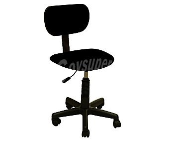 Productos Económicos Alcampo Silla de escritorio regulable, base de 5 ruedas pivotantes, fabricadas en Pvc, con asiento y respaldo acolchados de color negro y medidas 55x57x85 1 unidad