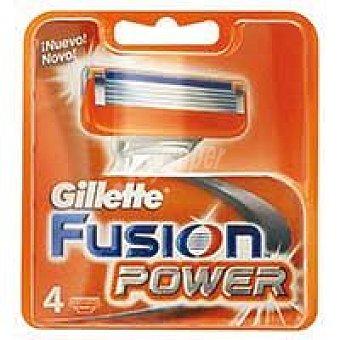 GILLETE Fusión Power Cargador de afeitar Pack 4 unid