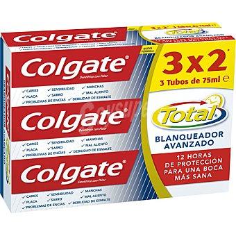 COLGATE TOTAL Pasta dentífrica Blanqueador avanzado 3 tubos de 75 ml