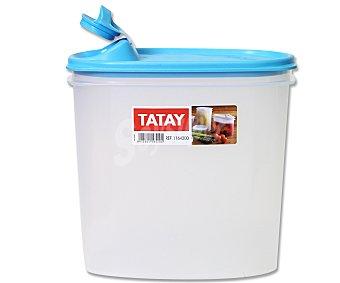 TATAY Tupper retangular de plástico transparente con tapa color azul y boquilla vertedora, 2 litros 1 Unidad