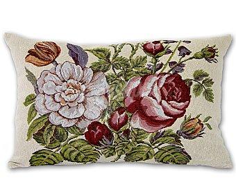 Auchan Cojín de tejido jacquard con estampado floral de rosas y cierre de cremallera, 30x50 centímetros 1 unidad