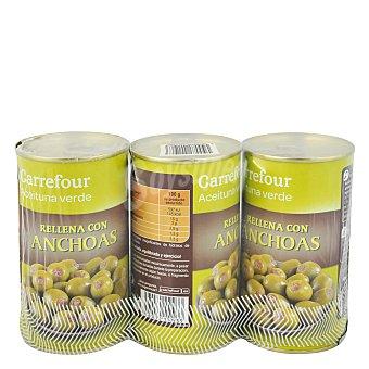 Carrefour Aceituna rellena de anchoa Pack de 3x150 g
