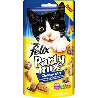 FELIX PARTY MIX Cheezy Mix snacks para gato con sabor a queso Cheddar Gouda y Edam envase 60 g Envase 60 g