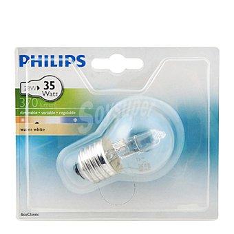 Philips Bombilla halógena Ecoclassic esférica 28W, blanca cálida, E14 230V 1 Unidad