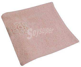 Actuel Toalla 100% algodón egipcio para lavabo, color rosa pastel con detalle crochet, 520g/m², actuel. 520 g